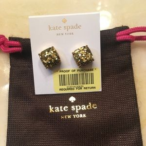 Kate Spade Gold Glitter Earrings NWT